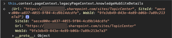 Code snippet of the knowledgeHubSiteDetails object.